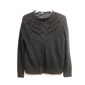 Vintage 50s Cashmere Wool Cardigan Hand Beaded S